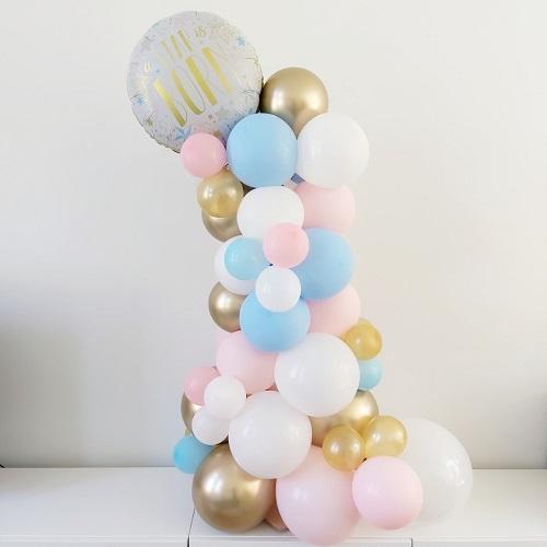Mini ballonpilaar organisch met 1 folieballon