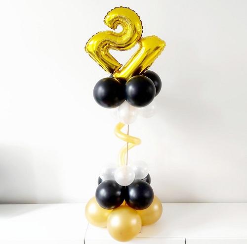 Mini ballonpilaar swirl met 1 folieballon