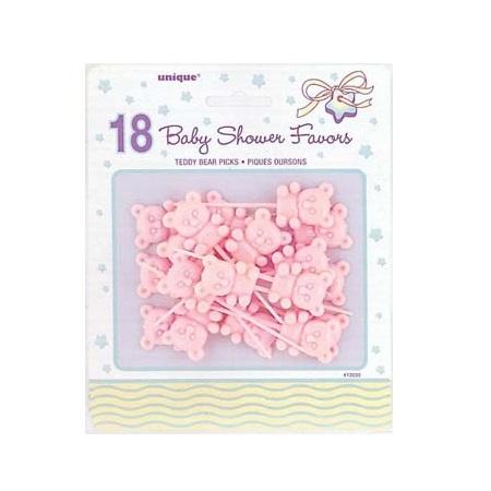 Geboorte uitdeelcadeautjes prikkers beer roze 18st