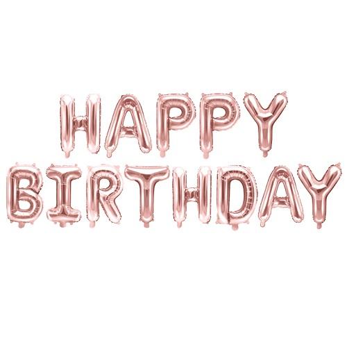 Folieballonnen set Happy birthday rosé goud