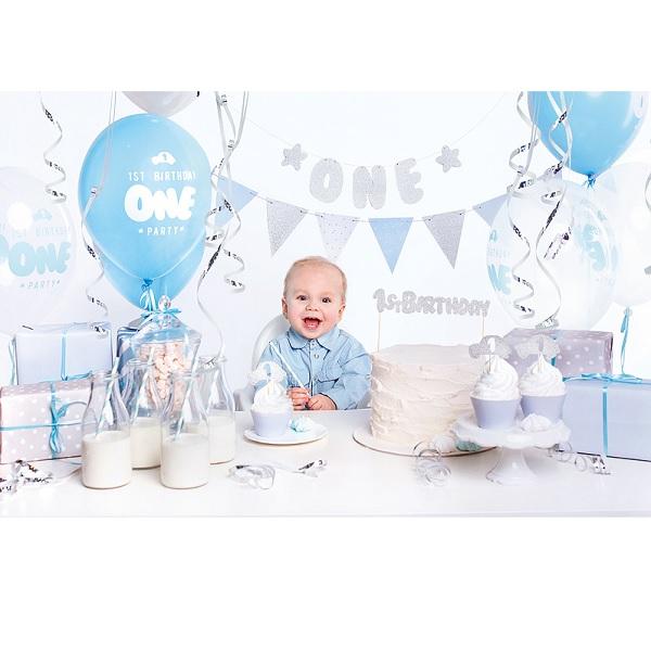 1st birthday decoratie set blauw/zilver 33dlg