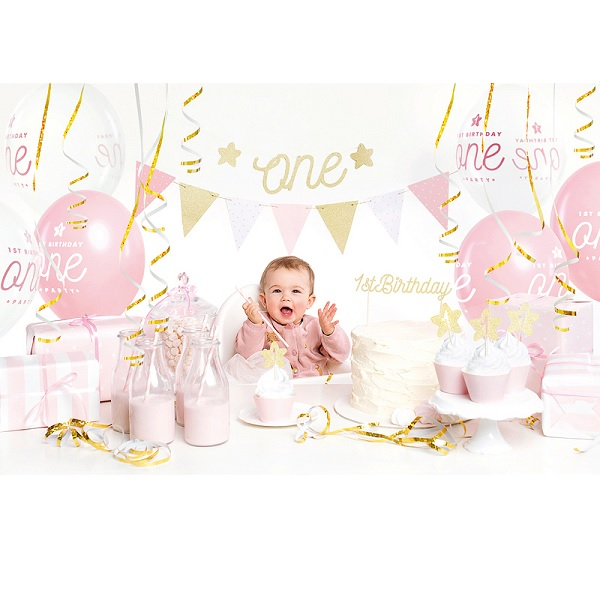 1st birthday decoratie set roze/goud 33dlg