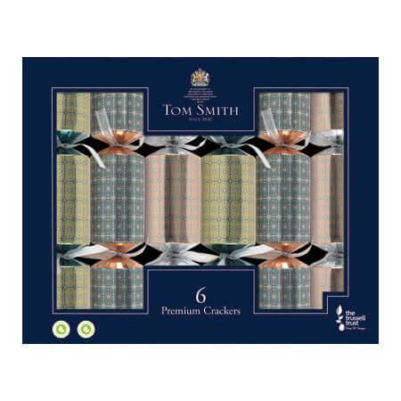 6 st. Christmas Crackers Premium mixed metallic 13 inch