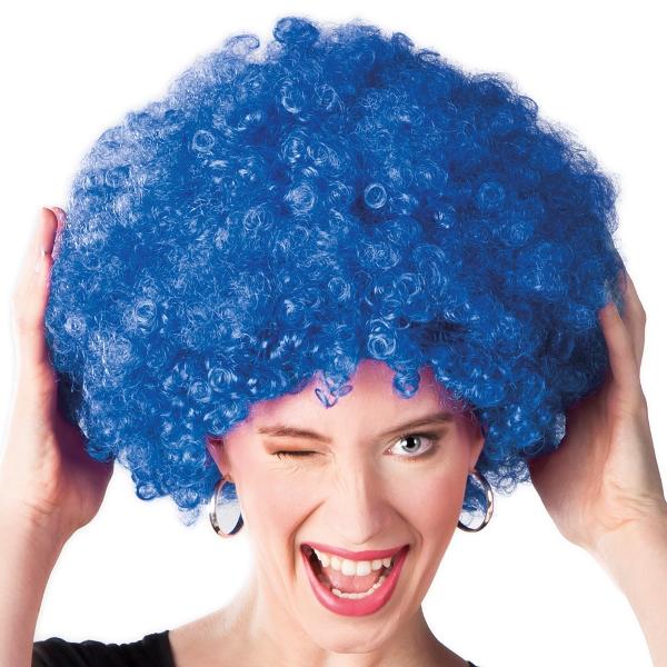 Afro pruik blauw