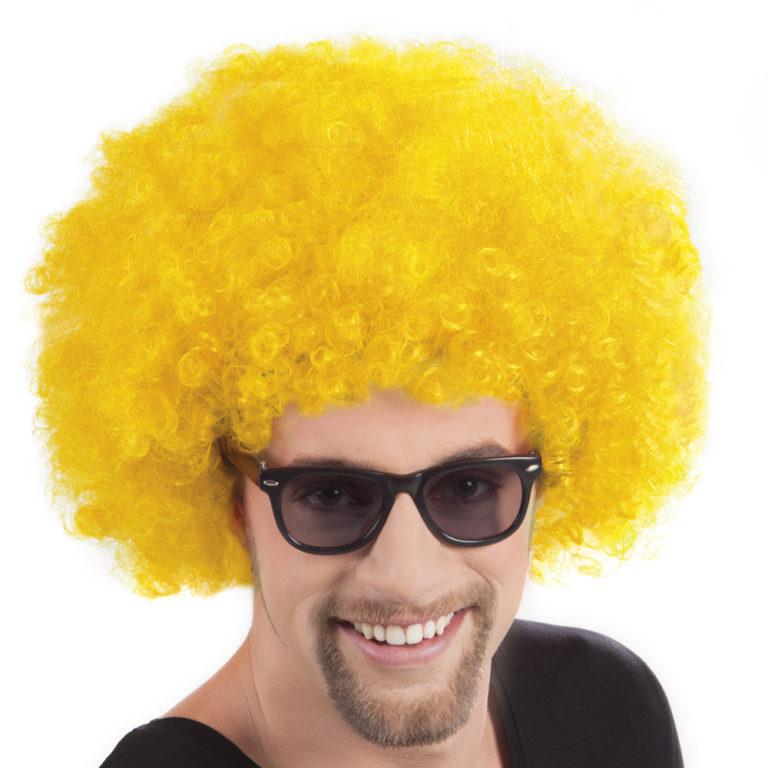 Afro pruik geel