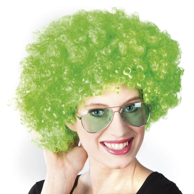 Afro pruik groen