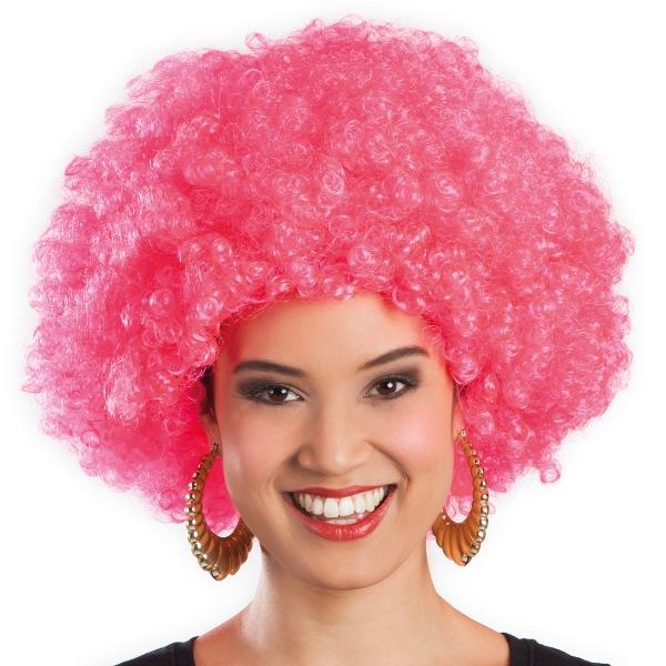 Afro pruik roze
