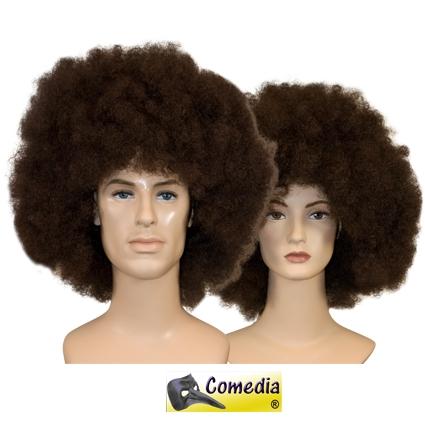 Afro pruik theater kwaliteit bruin