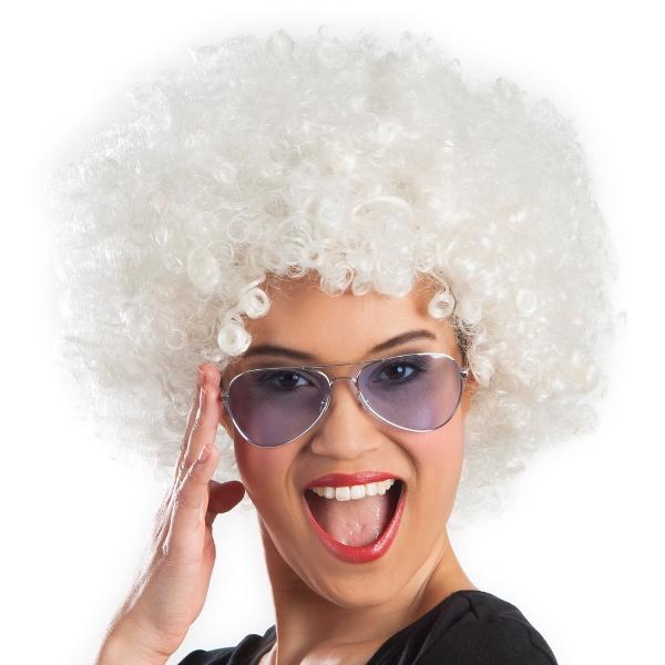 Afro pruik wit
