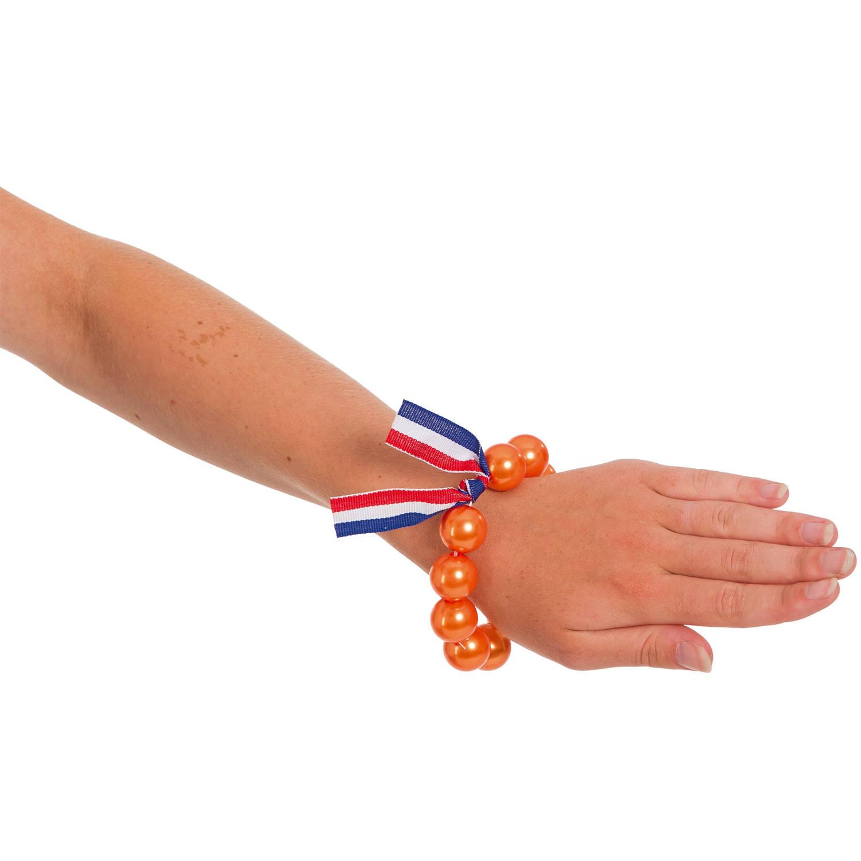 Armband oranje parels