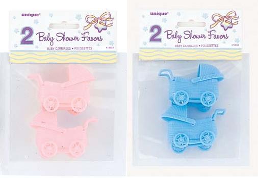 Babyshower wagentjes roze 2st