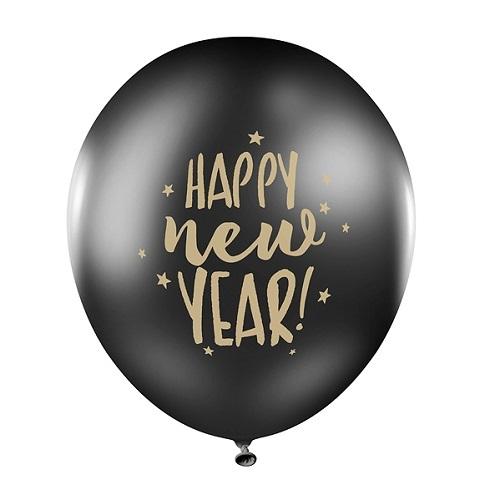 Ballon Happy new Year zwart/goud