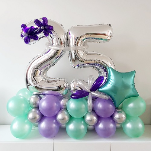 Ballon pilaar horizontaal met cijfers