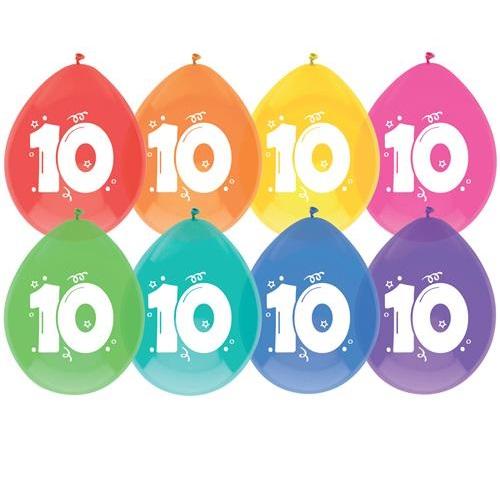 Ballonnen 10 jaar pastel
