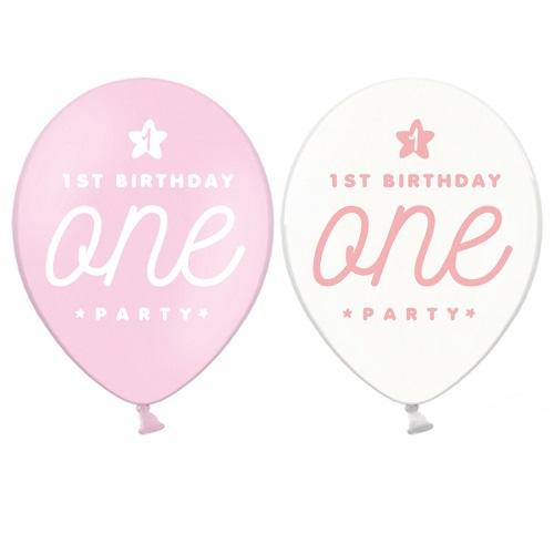 Ballonnen 1st birthday one roze 6st