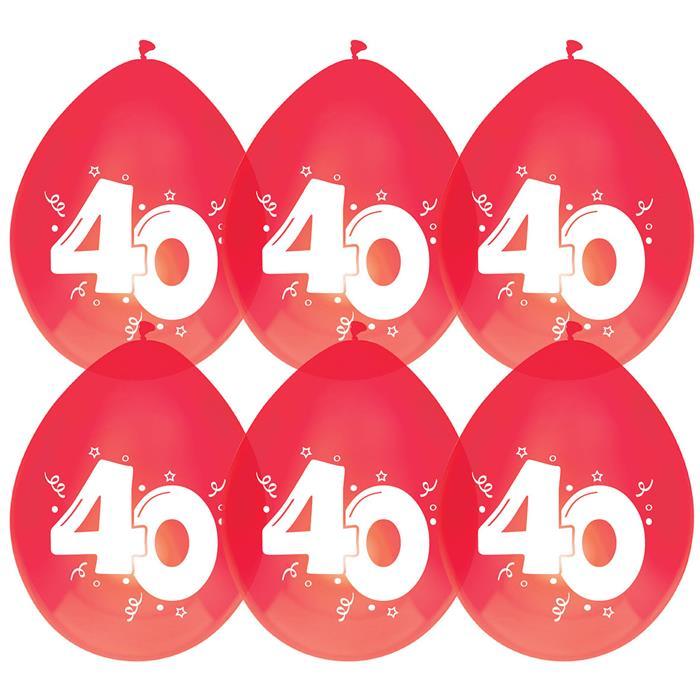 Ballonnen 40 jaar robijn 6st