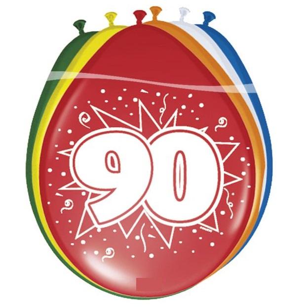 Ballonnen 90 jaar pastel