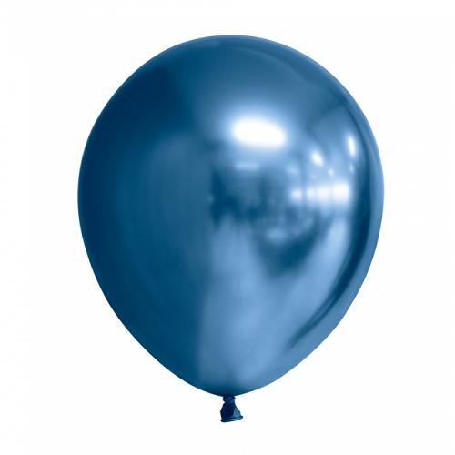Ballonnen blauw chrome 10 stuks