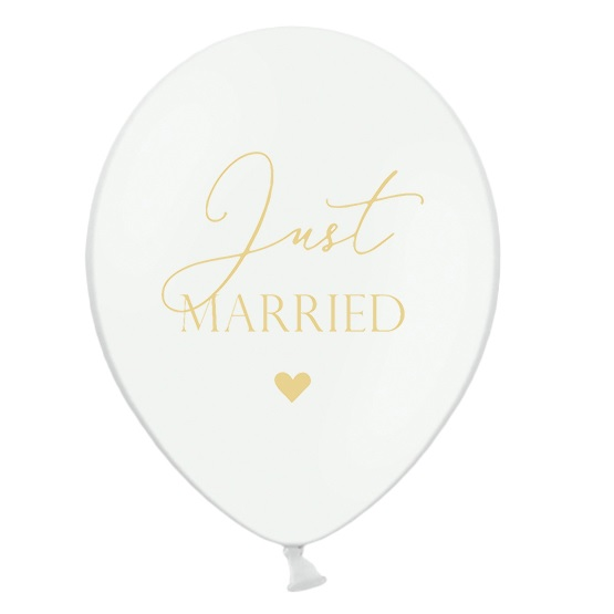 Ballonnen just married wit met goud 6st