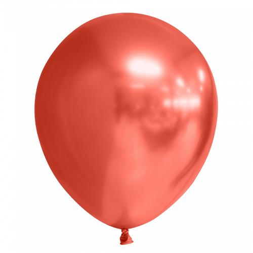 Ballonnen rood chrome 10 stuks