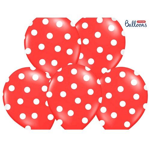 Ballonnen rood met witte stippen 6st