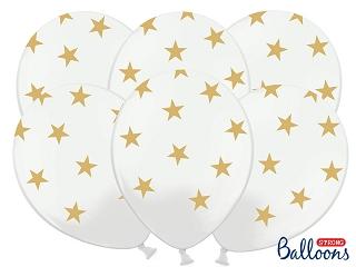 Ballonnen wit met gouden sterren 5st