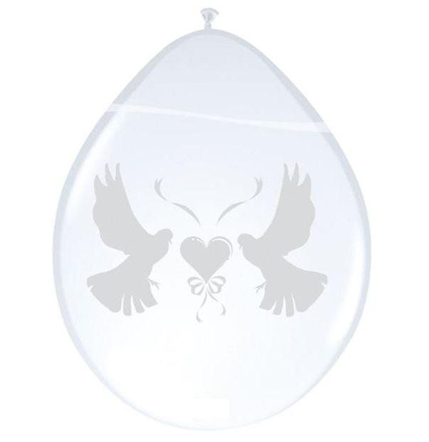 Ballonnen wit parelmoer met duifjes 8st