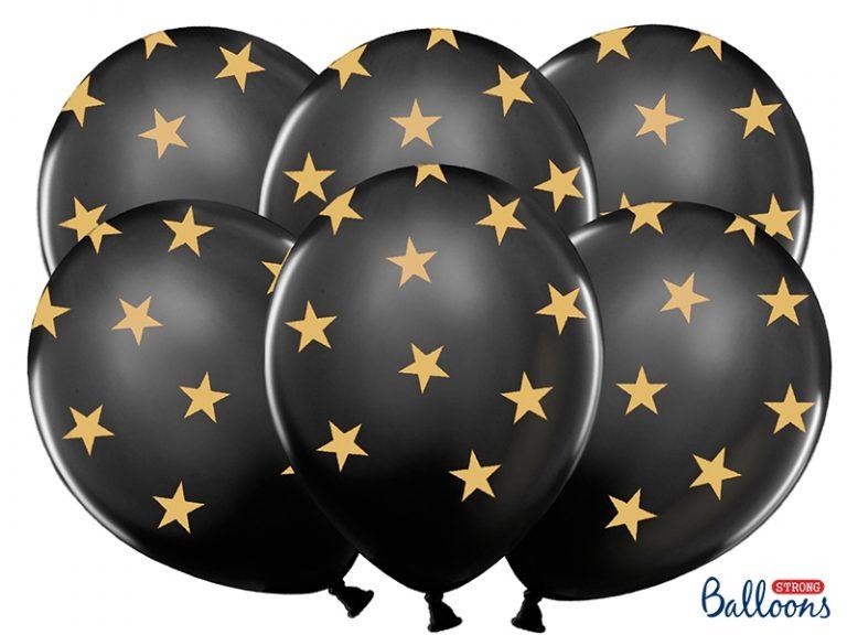 Ballonnen zwart met gouden sterren 5st