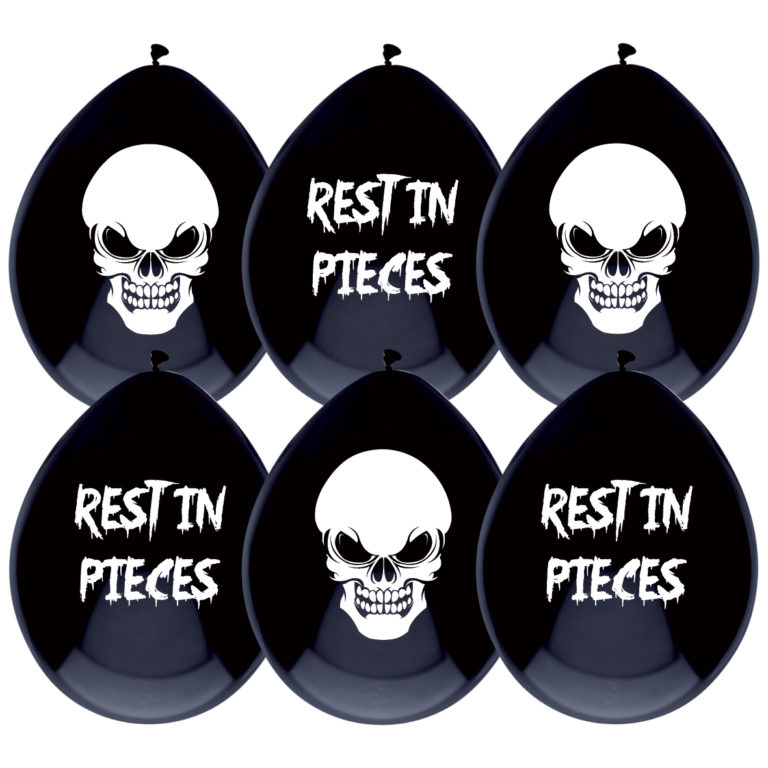 Ballonnen zwart rest in pieces 6st