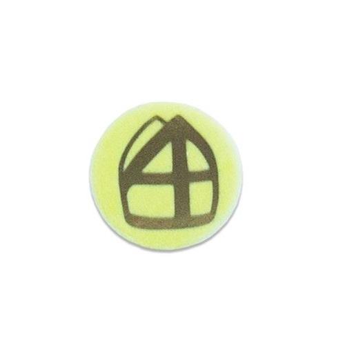 Baretspeld / button met mijter geel
