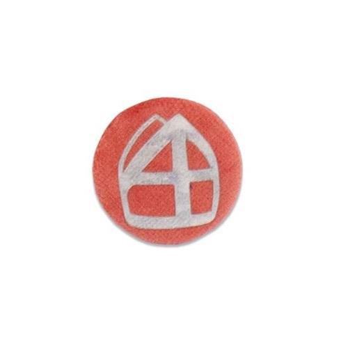 Baretspeld / button met mijter oranje
