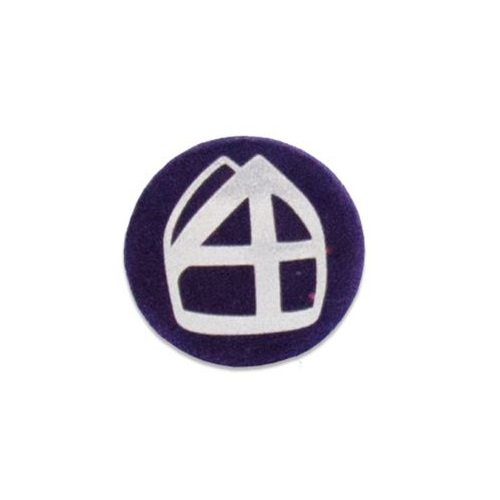 Baretspeld / button met mijter paars