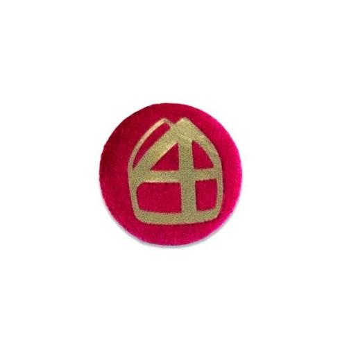 Baretspeld / button met mijter rood