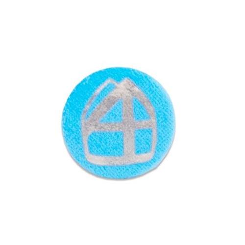 Baretspeld / button met mijter turquoise