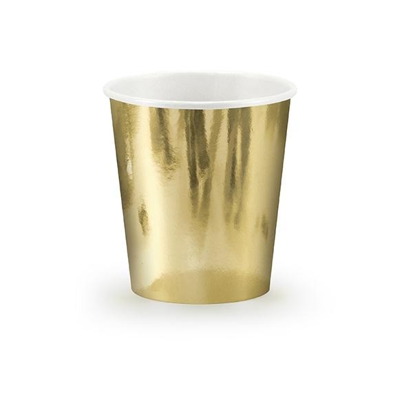 Bekertjes glimmend goud 6 stuks