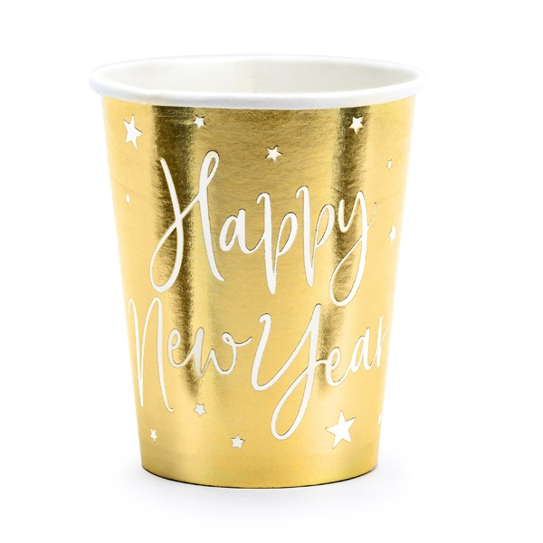Bekertjes Happy new year goud 6st