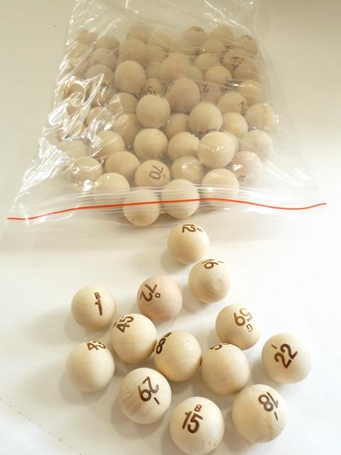Bingo ballen hout 1/75
