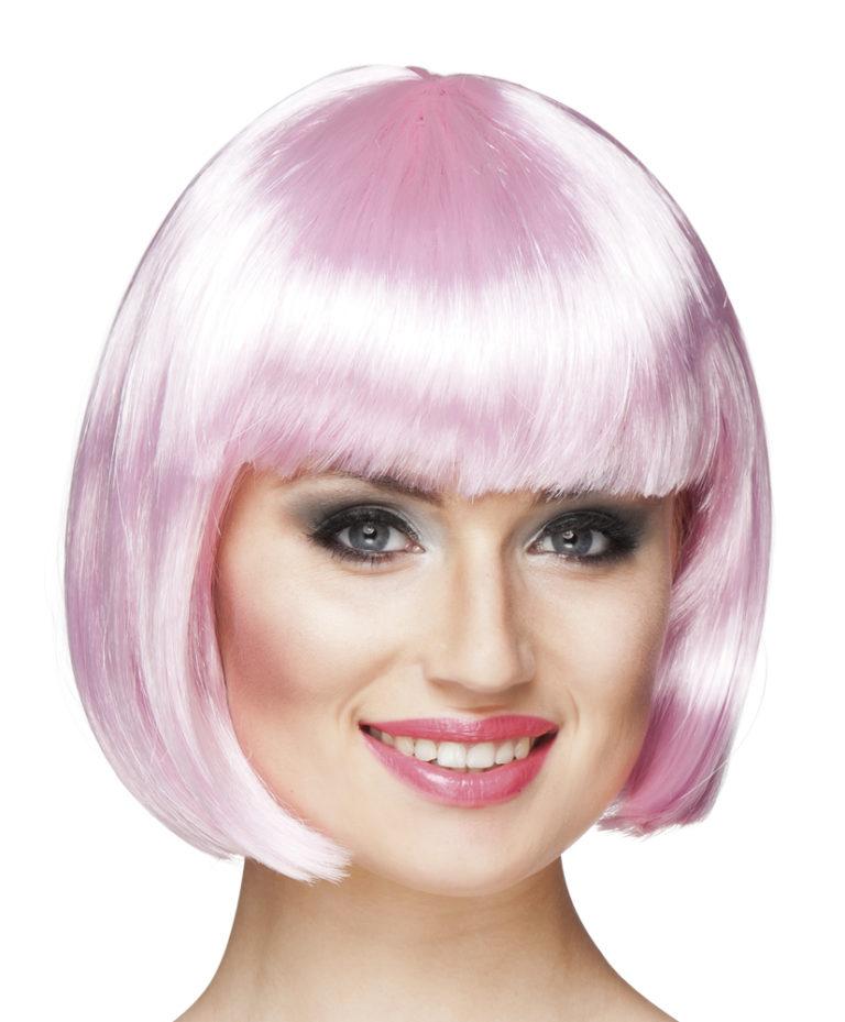 Boblijn pruik licht roze kort