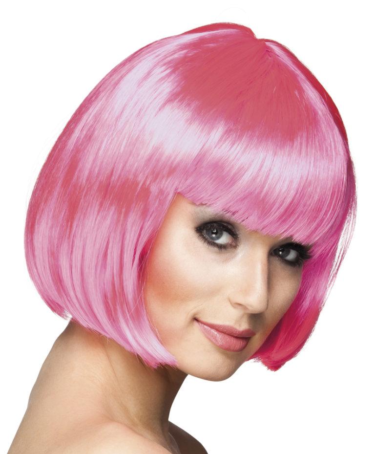 Boblijn pruik roze kort