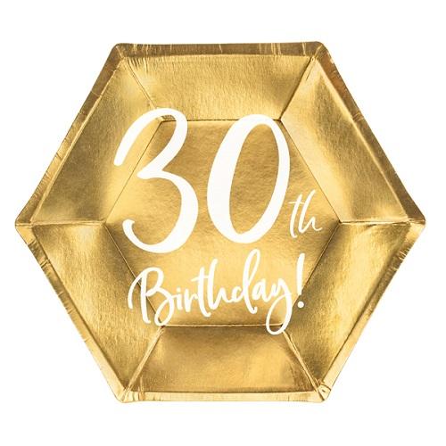 Bordjes 30 jaar goud 6st