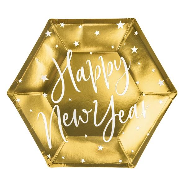 Bordjes Happy new year goud 6st