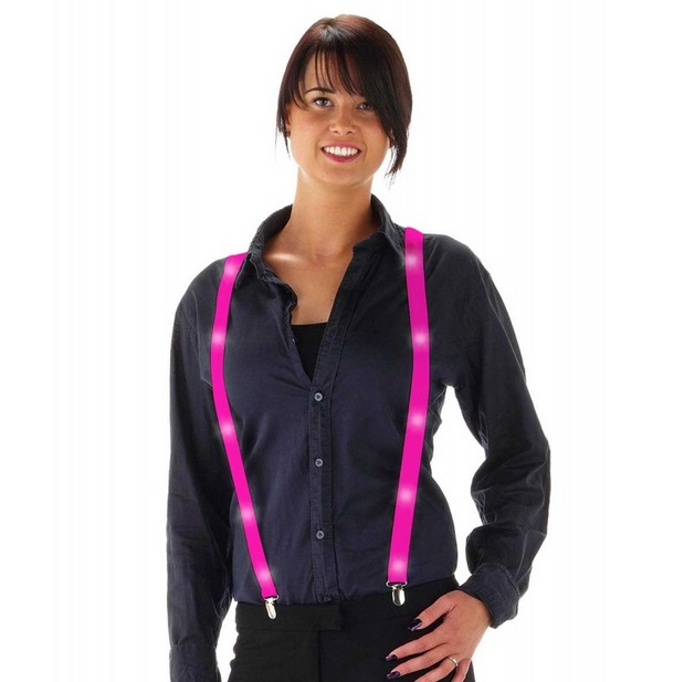 Bretels met LED neon roze