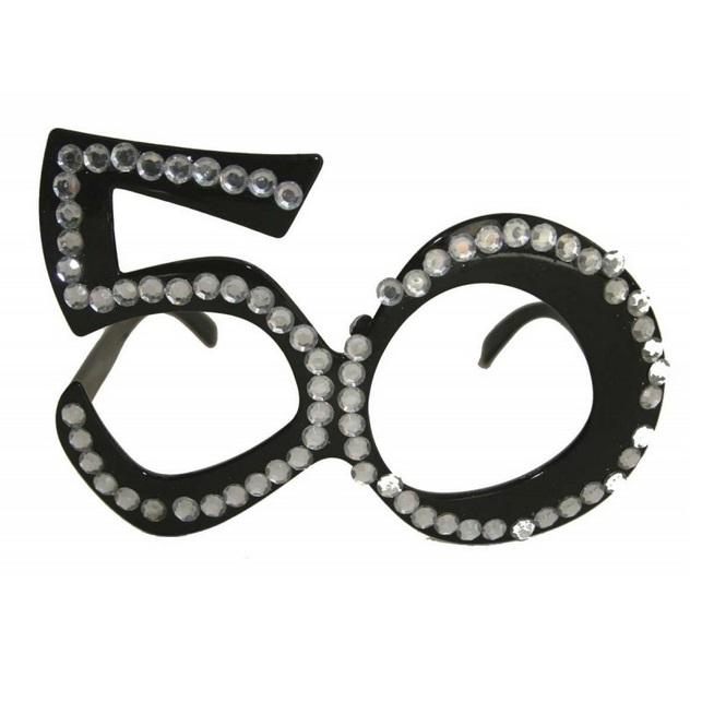 Bril 50 jaar roze of zwart - Zwart