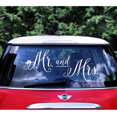 Bruiloft auto sticker Mr and Mrs