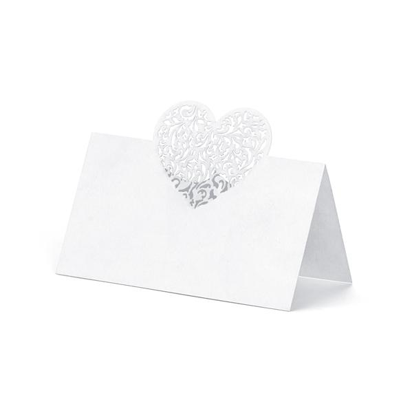 Bruiloft naamkaartjes hart 10 stuks