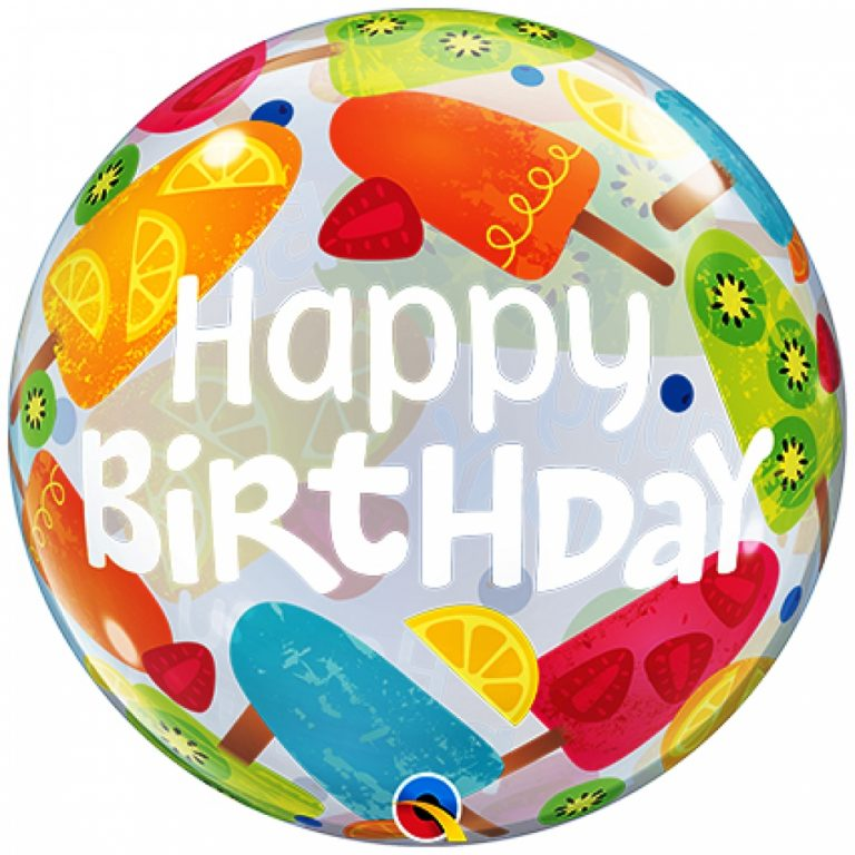 Bubbles ballon happy birthday ijsje 56cm