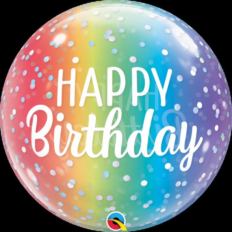 Bubbles ballon happy birthday regenboog 56cm