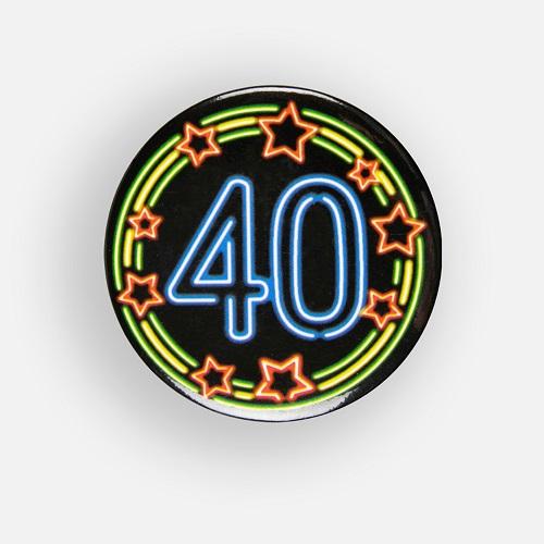 Button 40 jaar neon
