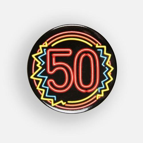Button 50 jaar neon