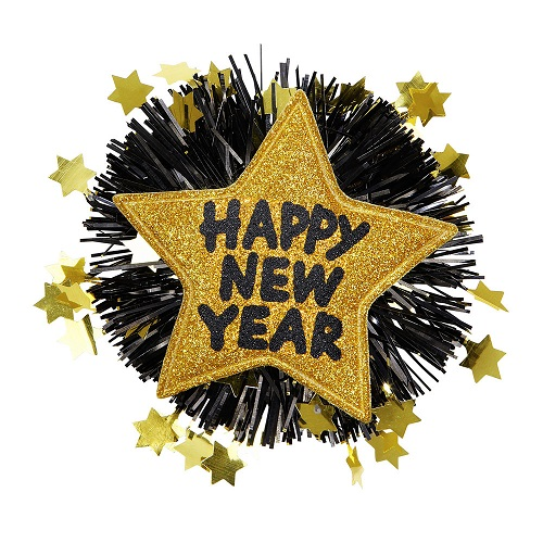 Button happy new year goud